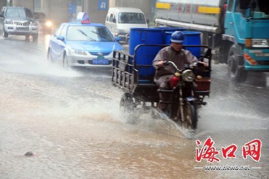 涉水而过_南海大道车辆涉水而过.记者 张俊其 摄