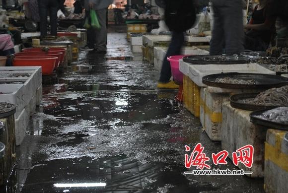 海口板桥路海鲜市场污水横流垃圾成堆