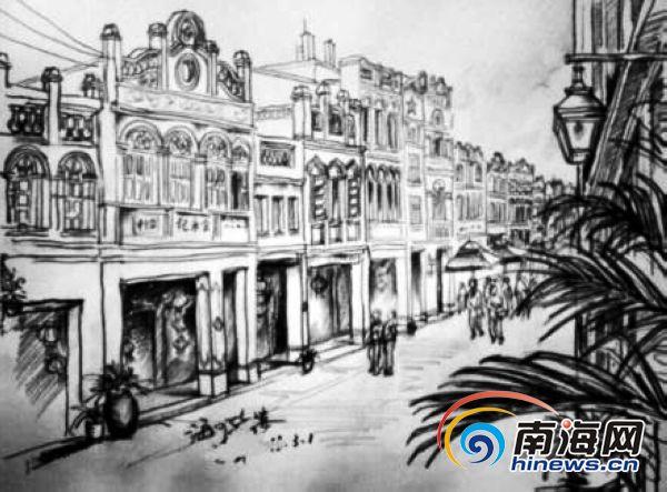 70后老海口手绘家乡 复古怀旧风走红网络(组图)(2)