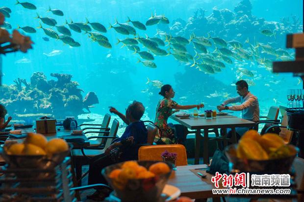 图为5月12日,三亚海棠湾天房洲际度假酒店的海底餐厅.骆云飞摄