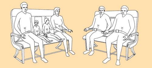 新座椅的扶手和安全带位置