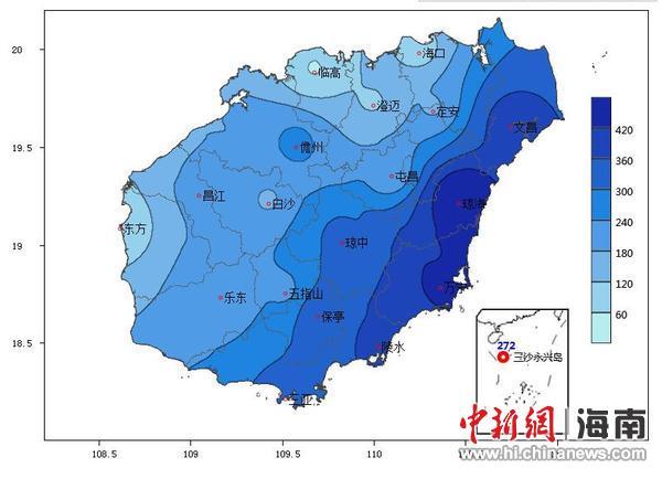 中新网海南10月8日电(符晓虹 易灵伟)记者8日下午从海南省气象部门了解到,9月海南省月平均气温偏高,月雨量偏少。28日保亭和陵水最高气温达36.6,均突破当地历史同期(9月)极值。中旬前期受台风雷伊影响,下旬前期受弱冷空气和低空急流共同影响,海南省分别出现一次轻度和一次中度区域性暴雨天气过程。   根据海南省19个国家气象观测站的资料统计分析,9月海南省平均气温27.