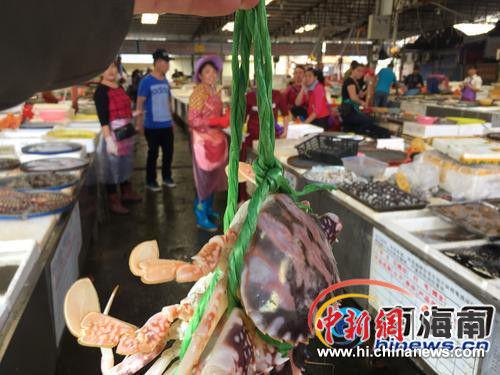 海口板桥路海鲜广场部分摊位售卖的螃蟹绑着粗绳.