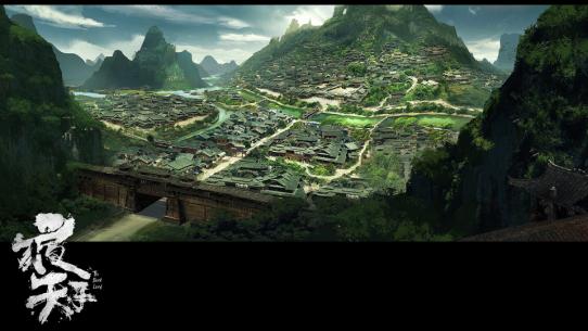 长江古风手绘风景