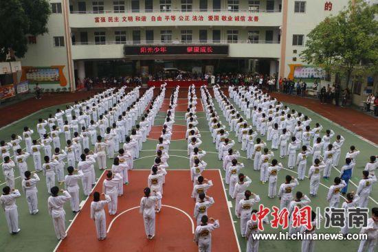 海口市滨海小学数百名学生开展跆拳道操展演