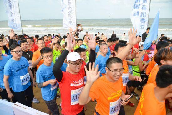 2019第七届海口国际沙滩马拉松赛比赛现场。