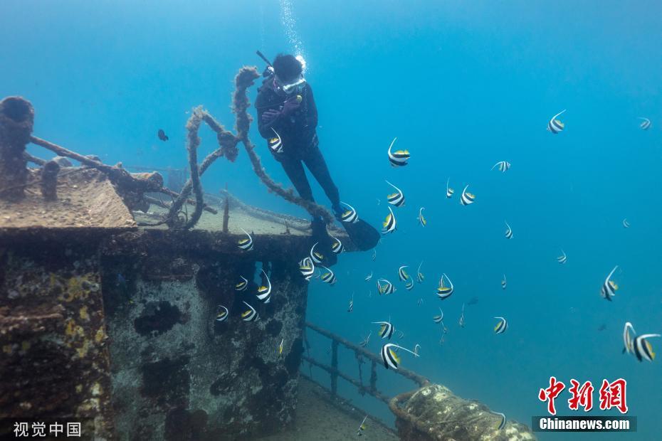 海南旅游区投放沉船吸引鱼群 打造海底特色景观