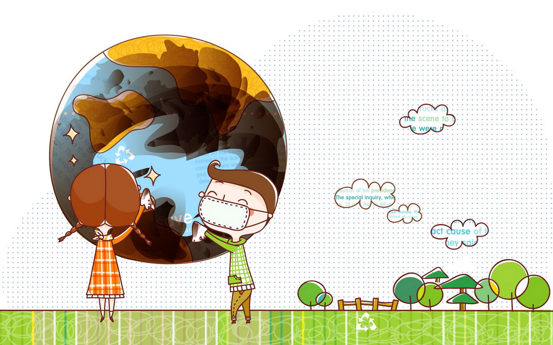 保护地球手绘卡通